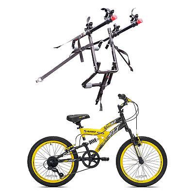 Kent Bikes Avigo Air Flex Steel 20 Inch Boys BMX Bike & 2 Bike Car Trunk Rack