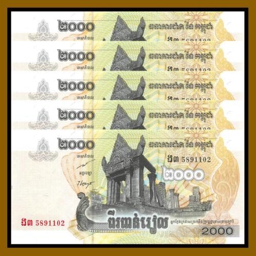 Cambodia 2000 (2,000) Riels x 5 Pcs, 2007 P-59 Unc