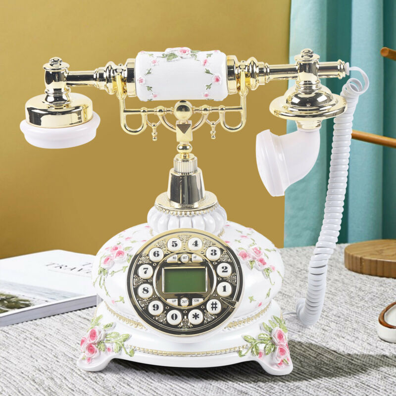 Vintage Phone White Retro Classic Pastoral Desk Home Telephone Corded Desktop