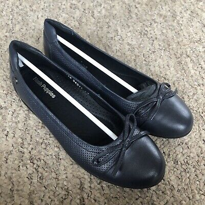 Hush Puppies Leather Ballet Loafers Navy UK4