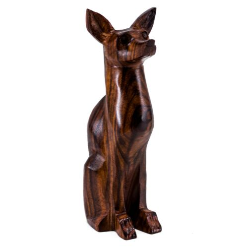"""Unique Hand Carved Ironwood Chihuahua Dog Figurine Wood Carving 4.75"""" High New!"""