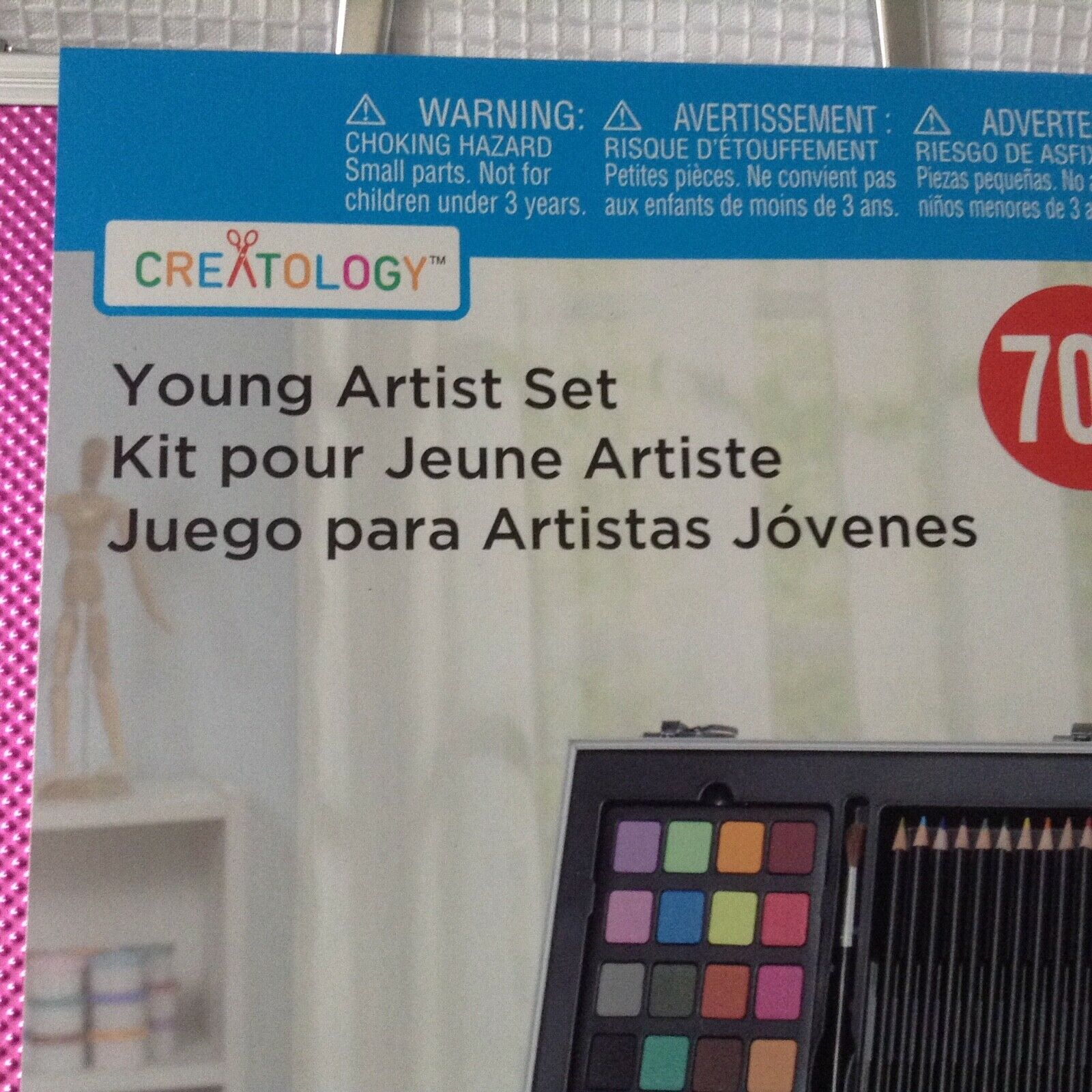 ART SET BY CREATOLOGY YOUNG ARTIST SET 70 PIECE IN PINK CASE 8 YEARS  - $14.95