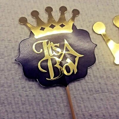 Royal Baby Shower Cake Toppers | its a Princess , prince Baby Shower gold crown - Royal Prince Baby Shower Cake