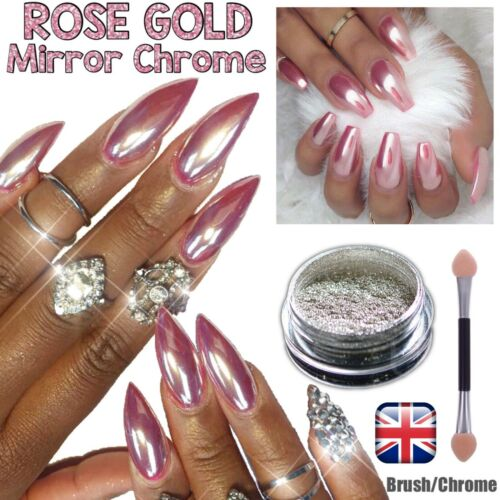 ROSE GOLD NAIL MIRROR CHROME POWDER EFFECT Pigment NAILS Silver Pink Purple Uk
