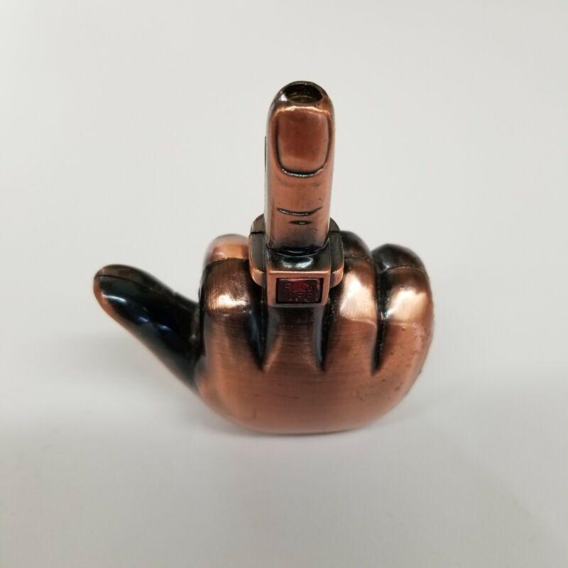 """FLIP THE BIRD Middle Finger """"F#@K OFF"""" Refillable Butane HAND Lighter"""