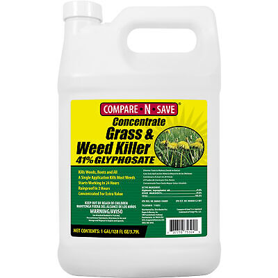 Concentrate Grass and Weed Killer 41-Percent Glyphosate Lawn Garden 1-Gallon New Grass Killer Concentrate