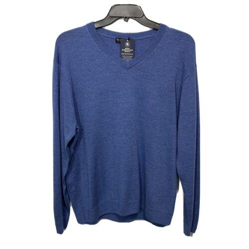 $99 Hart Schaffner Marx V-Neck Sweater 2XT 2XLT  Denim Blue Wool Pullover Clothing, Shoes & Accessories