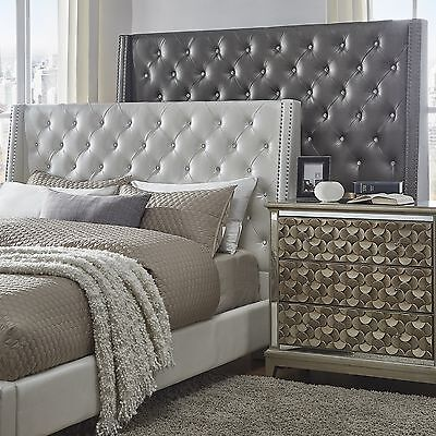Silver Faux Leather Bed Frame