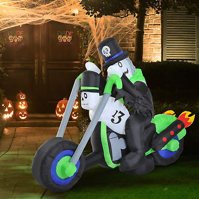 6ft Halloween Airblown Inflatable Ghost Motorcycle Led Yard Outdoor - Outdoor Halloween Decorations