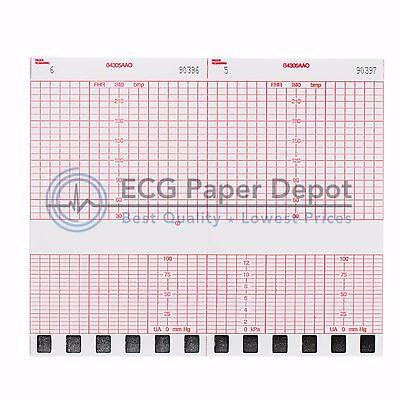 10 Pads Ecg-ekg Stress Machine Fetal Monitoring Paper Corometrics Red Z-fold