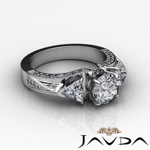 3 Stone Round Trillion Cut Diamond Engagement Ring GIA F VS2 14k White Gold 2ct 2