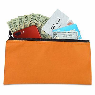 DALIX Zipper Money Bank Bag Pencil Pouch Makeup Travel Accessories Holder Orange