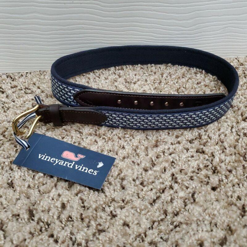 NWT Vineyard Vines Boys Club Leather Canvas Blue Whale Belt Size 30 Color Blue