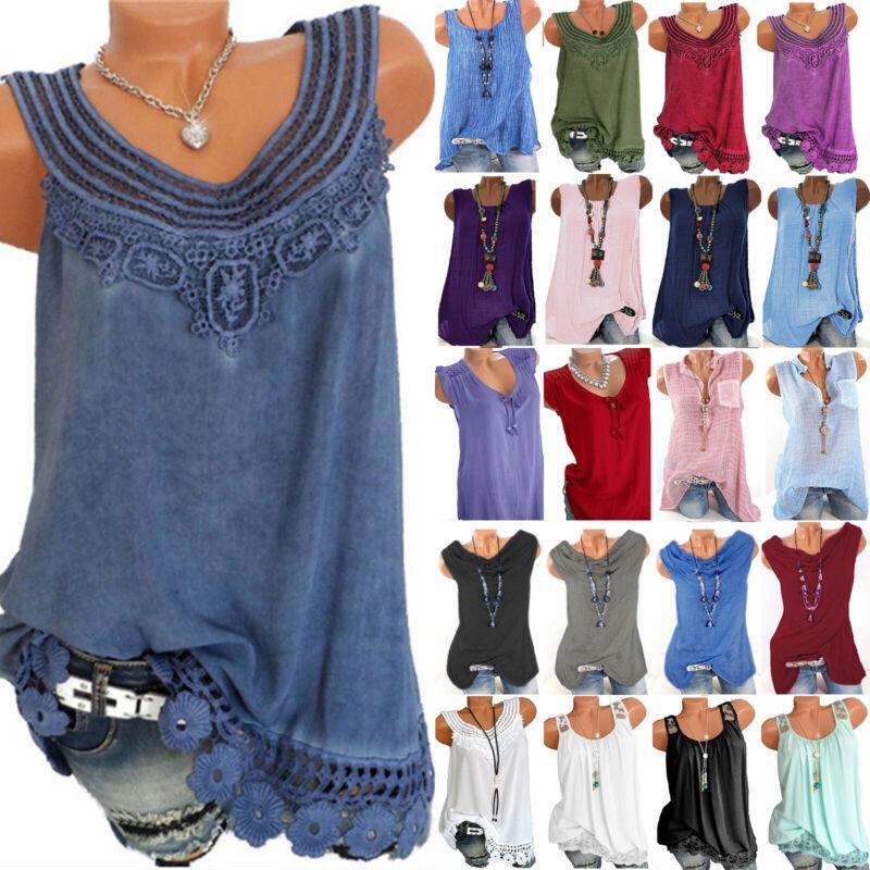 Women Boho Sleeveless Vest Loose T Shirt Casual Long Tank To