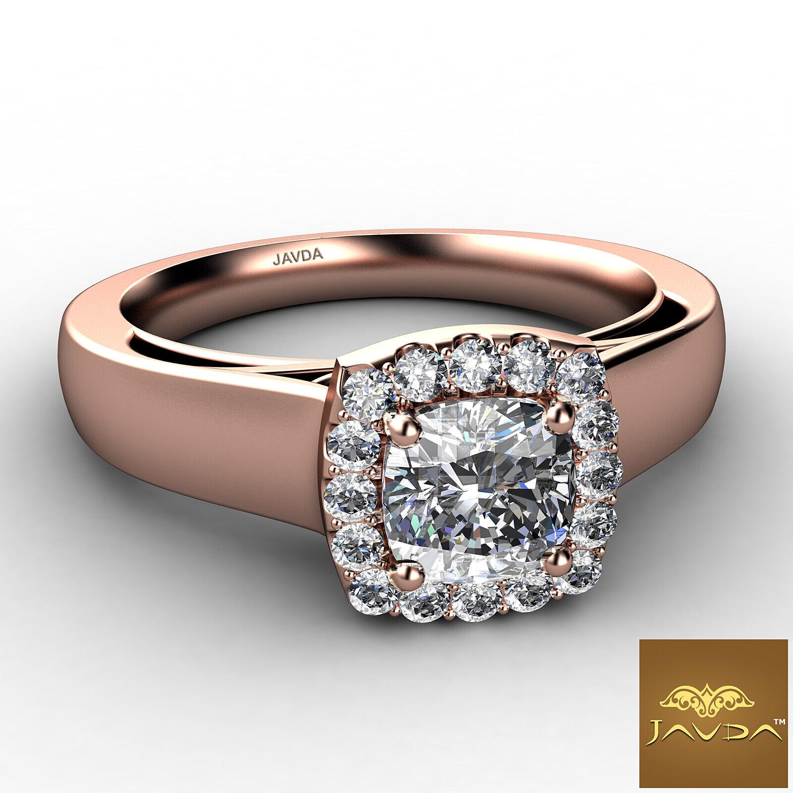 Filigree Shank U Cut Prong Cushion Diamond Engagement GIA H Color VS1 Ring 0.7Ct 9