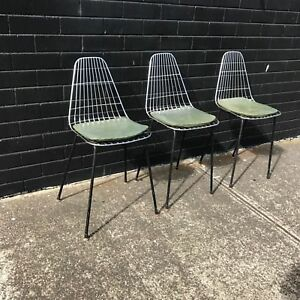 3 Retro Wire Chairs Vintage Dining Kids