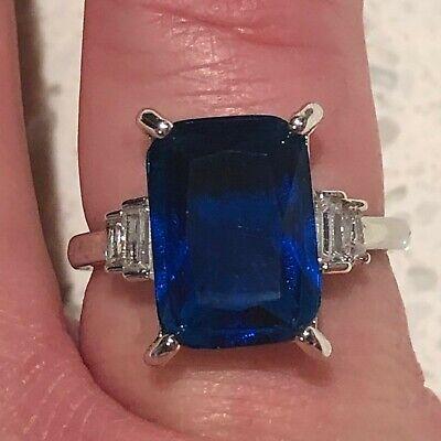 Sparkling Princess Blue Sapphire Ring Women Engagement Jewelry 14K White Gold  Princess Blue Sapphire Ring