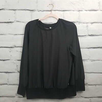 Fabletics Womens Size Medium Black Lola Long Sleeve Cutout Pullover Workout Top