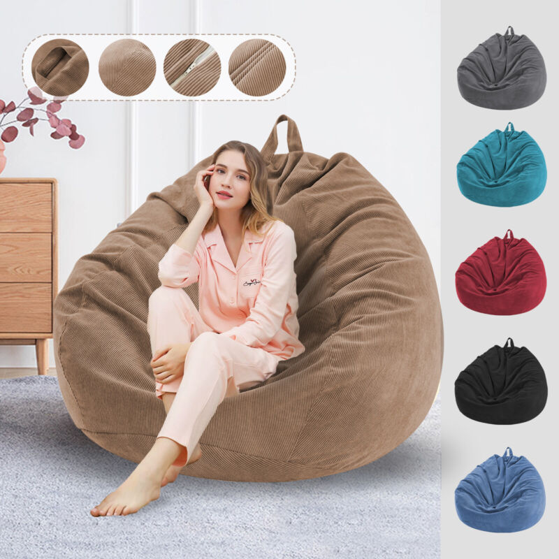 Large Corduroy Bean Bag Chair Cover  Lounger Seat Cover Adults Kids Gaming Chair