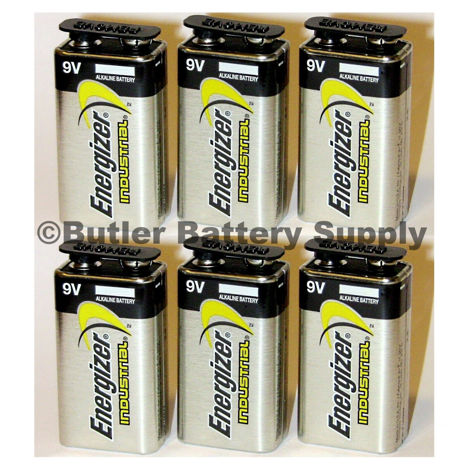 6 Energizer Industrial 9 Volt  Alkaline Batteries