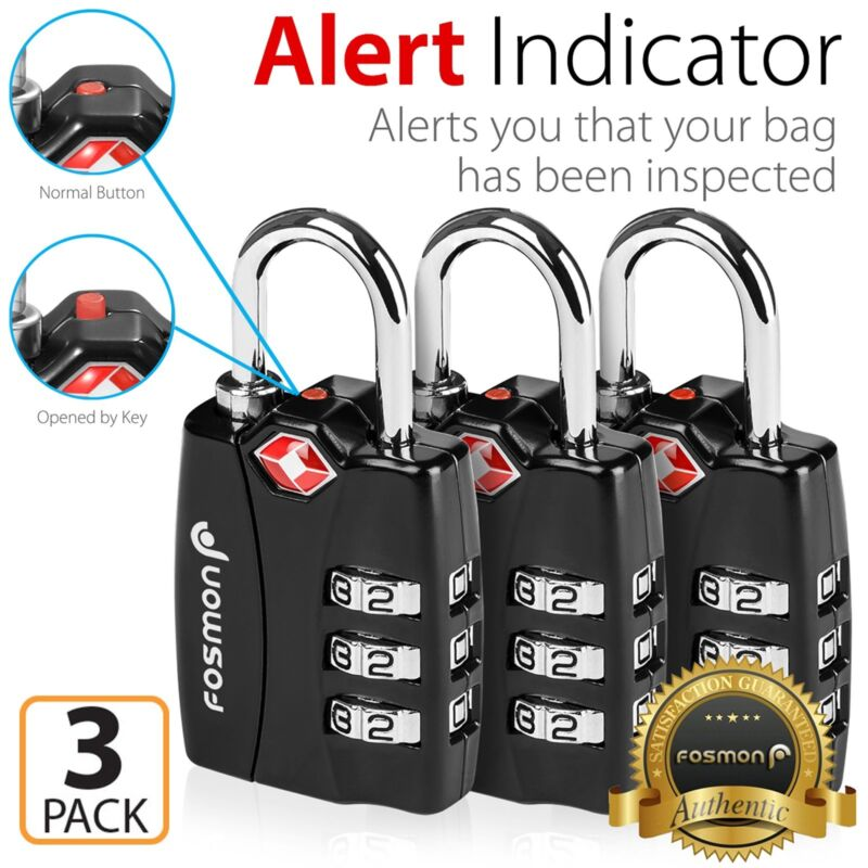 3xTSA Approve 3 Digit Combination Travel Suitcase Luggage Bag Lock Padlock Reset