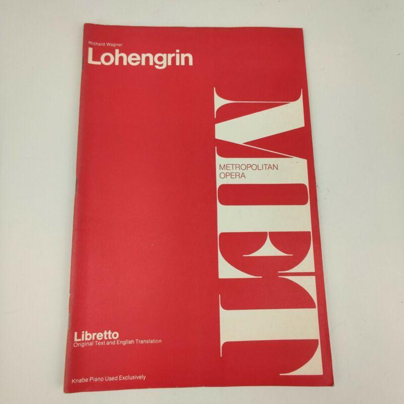 Vintage 1963 MET Metropolitan Opera Libretto Lohengrin, Richard Wagner
