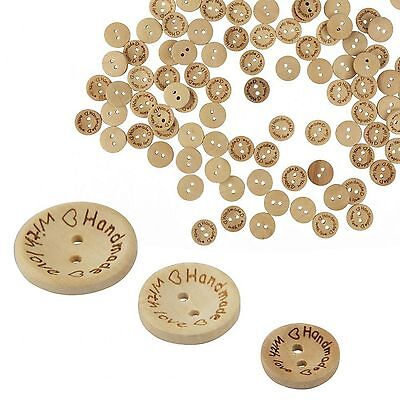 - 100pcs Wood Love Heart  Handmade 2 Holes Wooden Buttons Sewing Scrapbooking DIY