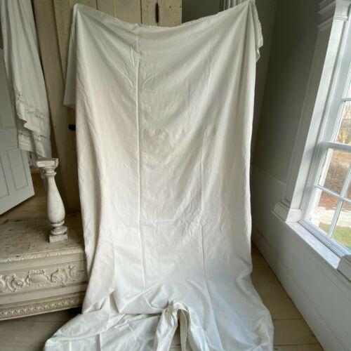 Plain linen cotton blend sheet heavy 4+ pounds ~ creamy off- white metis