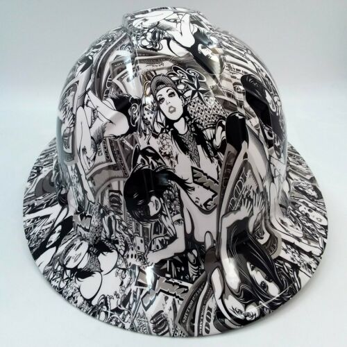 Hard Hat FULL BRIM custom hydro dipped , OSHA approved HUSTLER GIRLS NEW SUPER 3