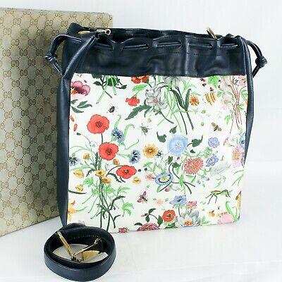 GUCCI Vintage Flora Canvas Drawstring Shoulder Bag Hand Purse 2way Navy
