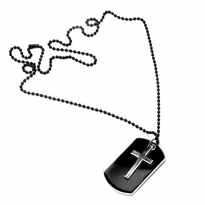 Men's Stainless Steel Black Cross Dog Tag Pendant Necklace w/Beaded Chain Gift Fashion Jewelry