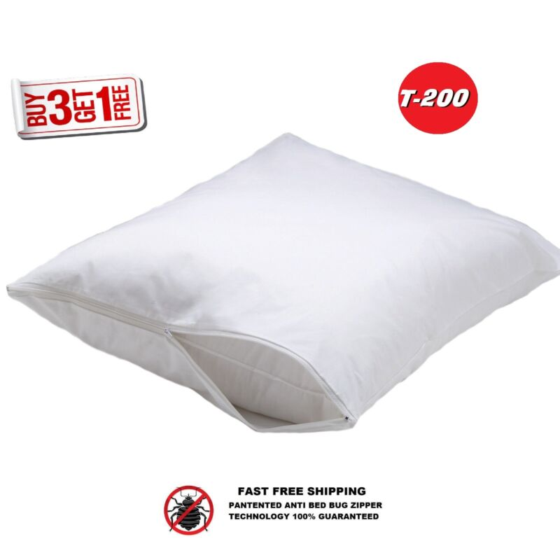 (BUY3 GET1 FREE) NEW STANDARD SIZE ZIPPERED PERCALE PILLOW PROTECTOR / 2 PACK