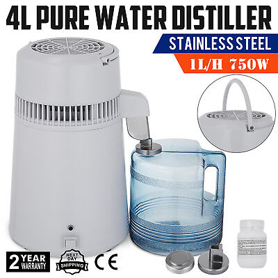 NEW 4L 750W DENTAL MEDICAL PURE WATER DISTILLER ALL STAINLESS STEEL INTERNAL FILTER