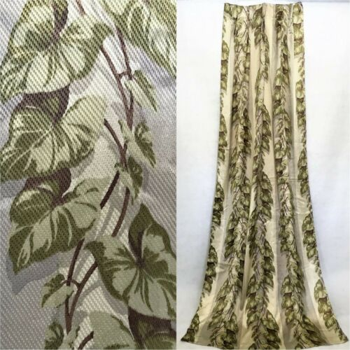 """Vintage 1940s 50s tropical single satin curtain panel 96"""" long green brown gray"""