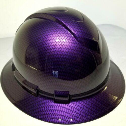 Hard Hat FULL BRIM custom hydro dipped , OSHA MOPAR PLUM CRAZY CARBON FIBER 1