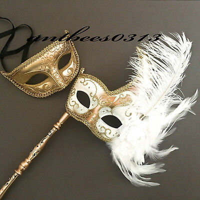 His & Her White Gold Classic Eye Fluffy Feather Stick Masquerade Party Ball Mask