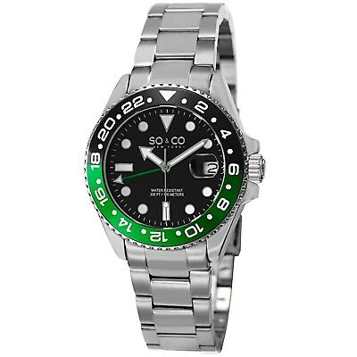 SO & CO NY Men's Silver Pro Diver GMT Stainless Steel 10 ATM Quartz Dive Watch