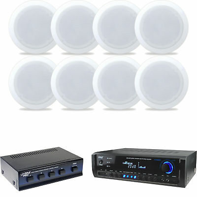 """5.25"""" In Ceiling Speakers, Speaker Selector, Bluetooth Home Theater Receiver"""