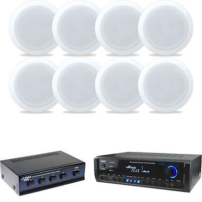 "Pyle 5.25"" 150W In Ceiling Speakers,Selector, Bluetooth Home Theater Receiver"
