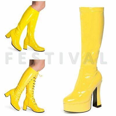 Damen Herren Gelb Kniehoch Ösen Plateau Disco Kostüm - Gold Kostüm Stiefel