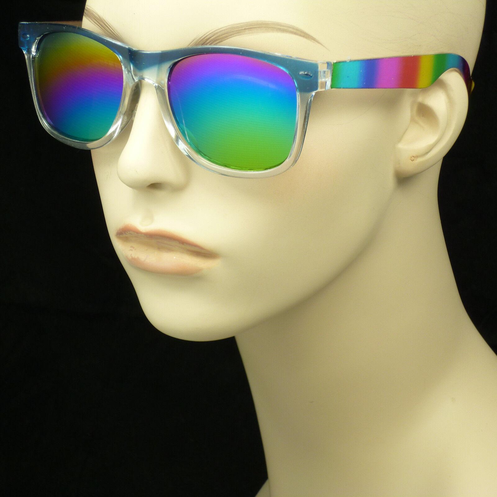 Rainbow frame lens shown