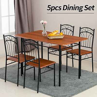 5 Piece Metal Dining Table Set 4 Chairs Wood Top Table Kitchen Furniture -