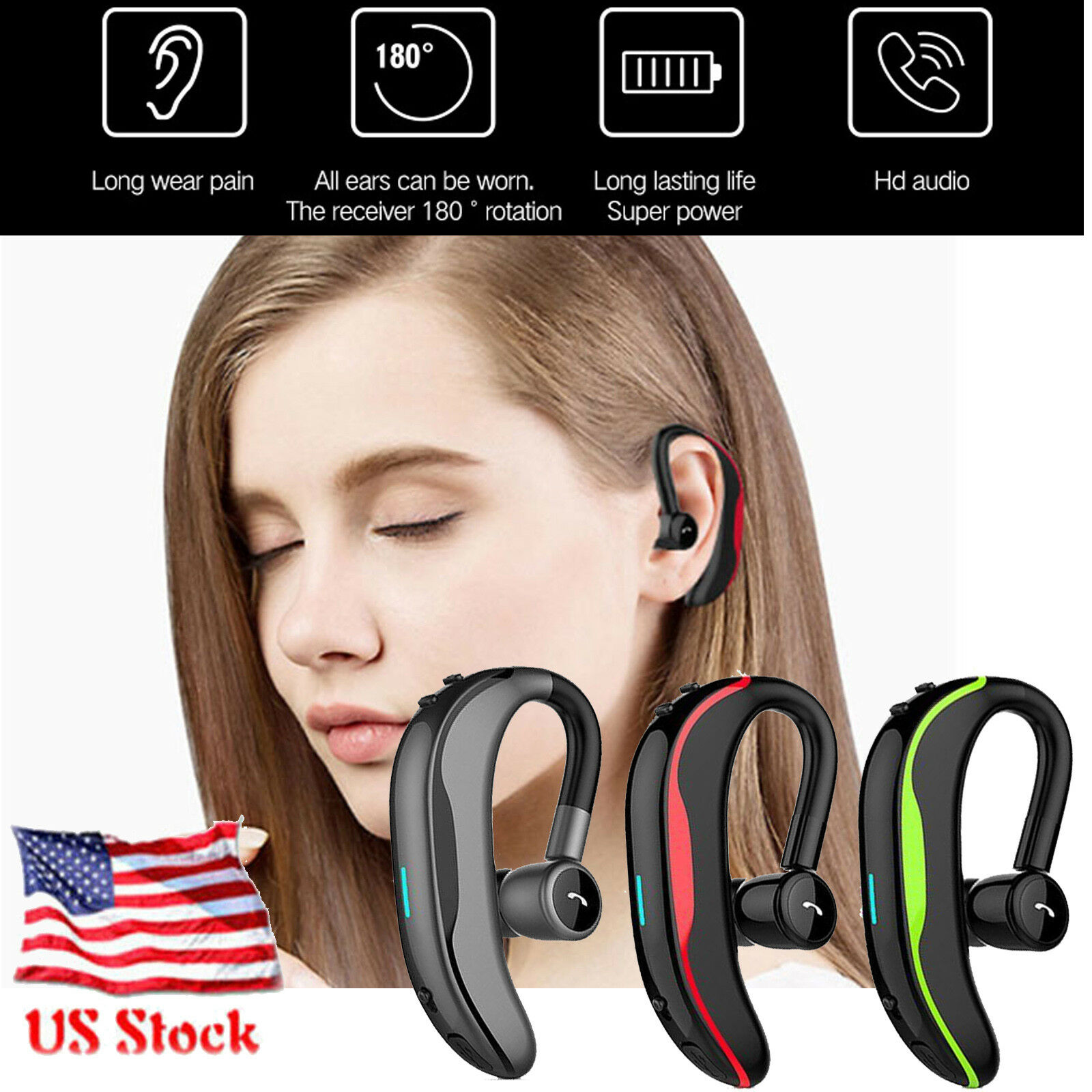 Bluetooth Headphone Wireless Headset HD Sound Earphone For B