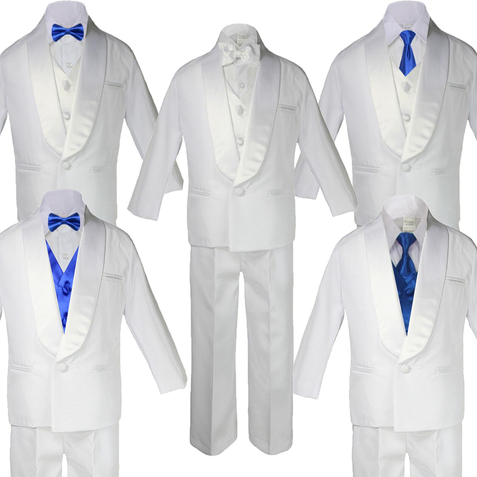 5-7pc Baby White Satin Shawl Lapel Suit Tuxedo Royal Blue...