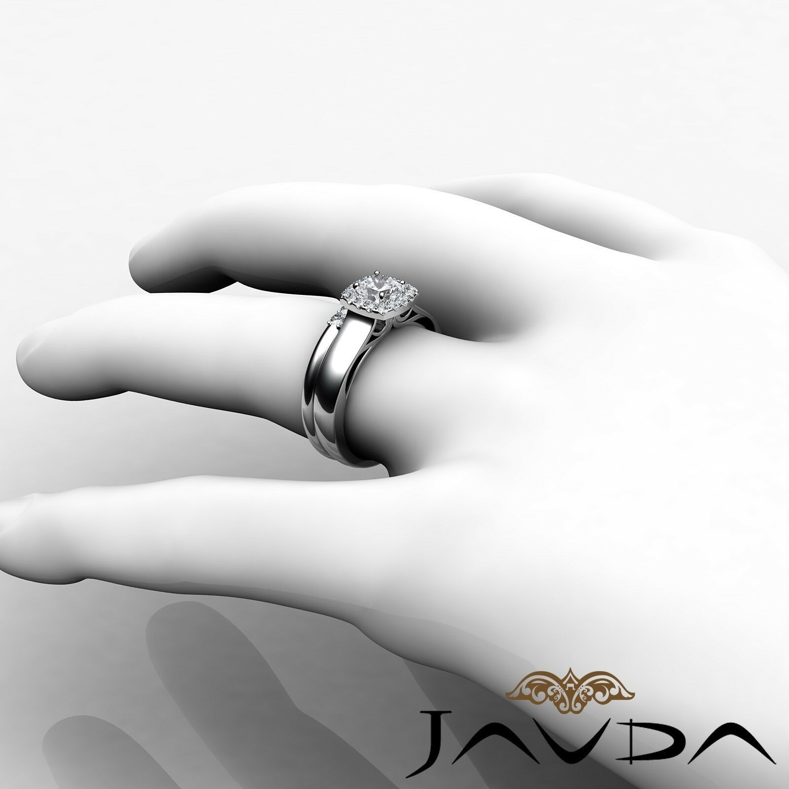 1.04ctw Solitaire Halo Bridal Cushion Diamond Engagement Ring GIA H-VS2 W Gold 5