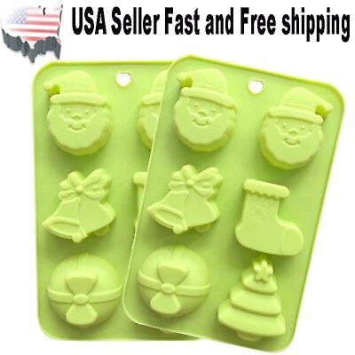 2 PACK Christmas Santa Jingle Bell Silicone DIY Handmade Soap Mold ~ US Seller