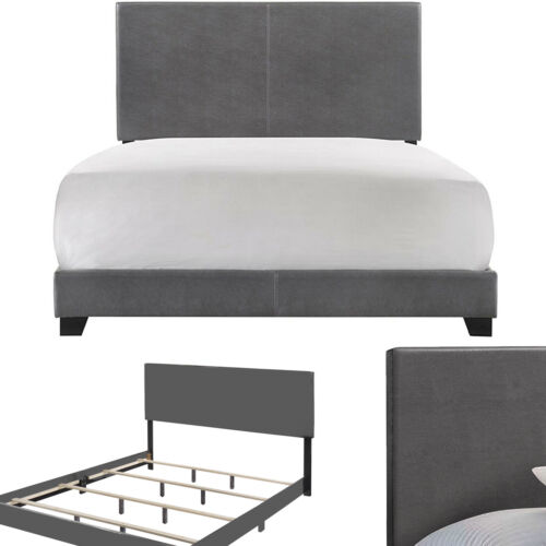 KING SIZE BED FRAME Platform Faux Leather Upholstered Headbo