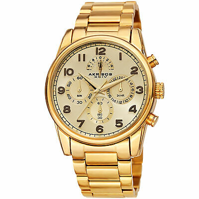 Men's Akribos XXIV AK1042YG Chronograph Gold Stainless Steel Bracelet Watch