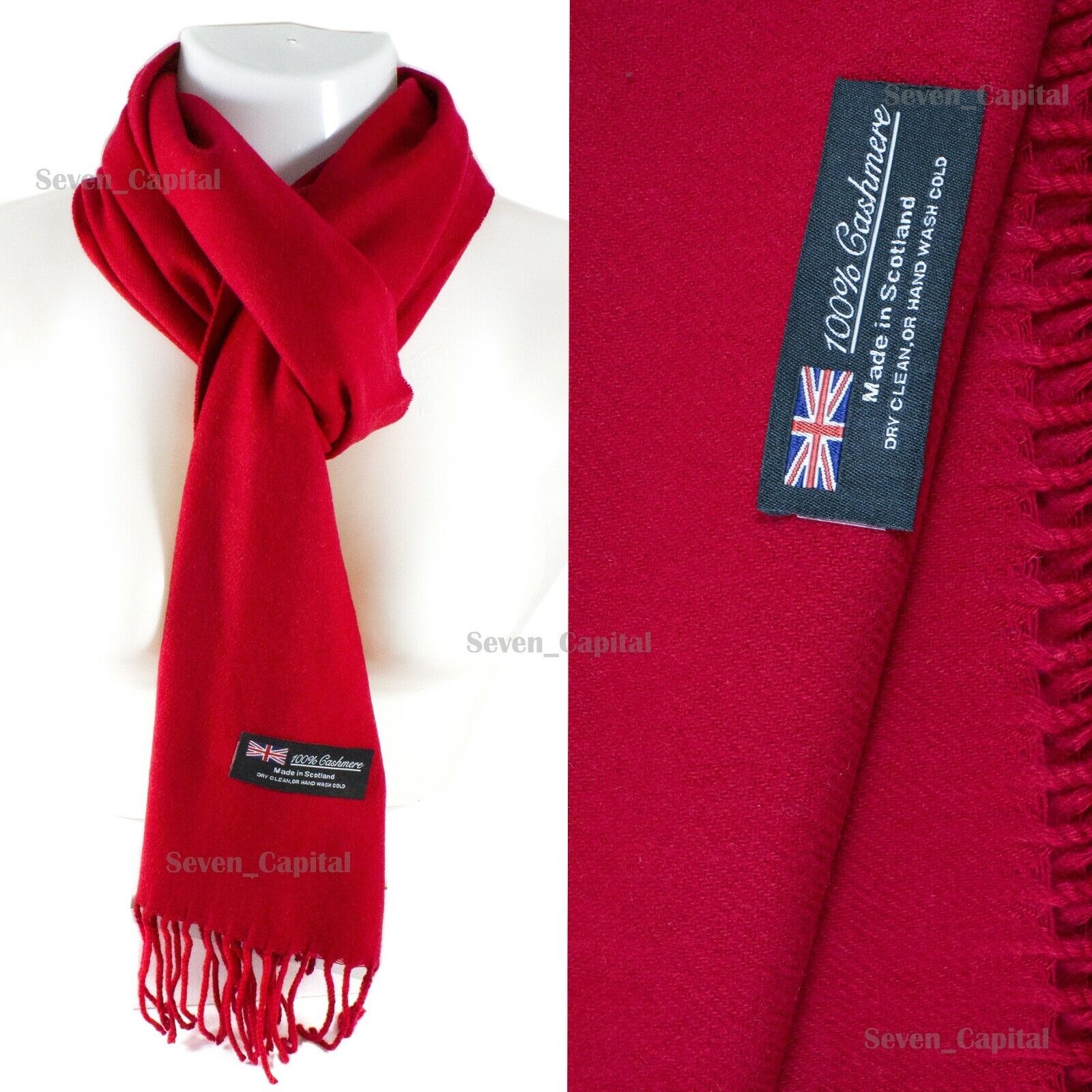 Mens Womens Winter Warm SCOTLAND Made 100% CASHMERE Scarf Scarves Plaid Wool 43. Plain: Red