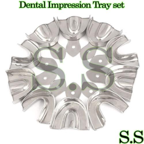 10 Dental Impression Tray set Solid Denture Instruments